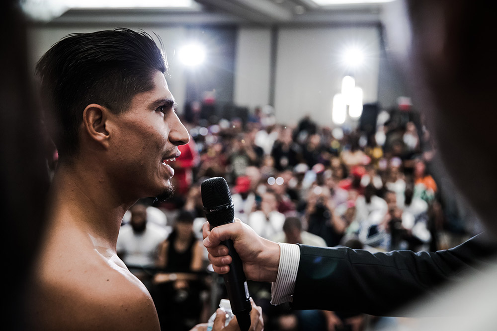 Mikey Garcia Adrien Broner weighin  by Amanda Westcott Showtime10 - Dougie's Friday mailbag (Errol Spence vs. Mikey Garcia, Ring titles)