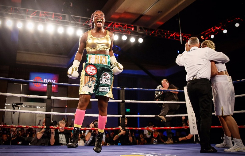 Claressa Shields celebrates her fifth round TKO win over Nikki Adler for the WBC and vacant IBF women's super middleweight titles on August 4, 2017. Photo credit: Stephanie Trapp/TrappPhotos/Showtime
