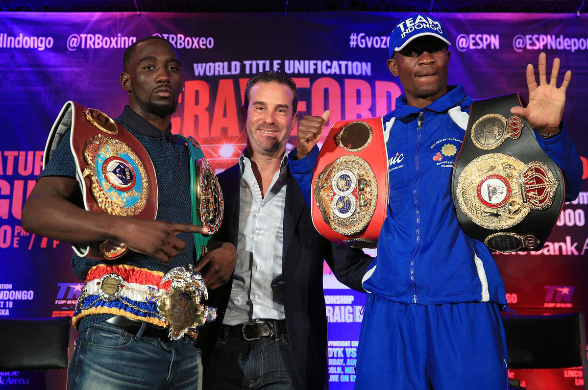 Crawford Indongo with belts TopRank - The Boxing Esq. Podcast, Ep. 27: Top Rank President Todd duBoef