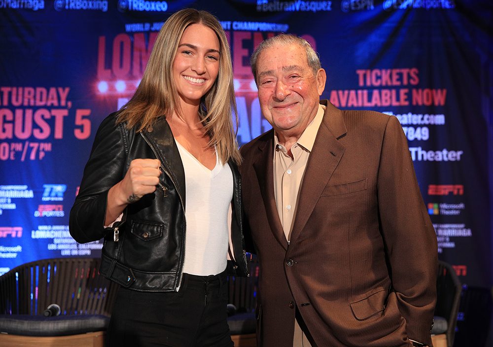 Mikaela Mayer and Bob Arum photo Top Rank - Mikaela Mayer is ready and (tired of) waiting