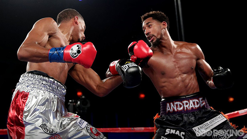 Demetrius Andrade (right) takes it to Alantez Fox en route to a 12-round unanimous decision on October 21, 2017. Photo courtesy of HBO Boxing.