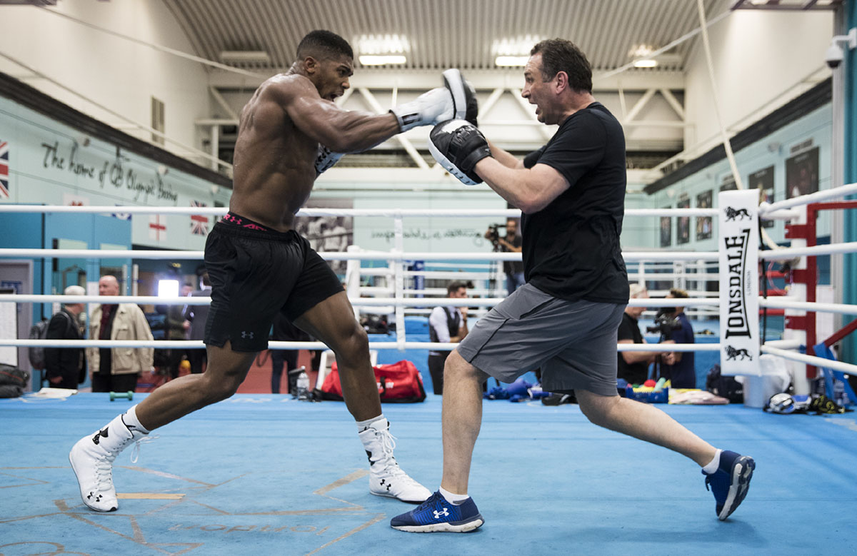 IBF/WBA/WBO heavyweight titlist Anthony Joshua works out in Sheffield, ahead of his defense against Carlos Takam in Cardiff, on October 28. Photo credit: Mark Robinson