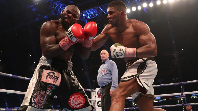 Anthony Joshua: 'My shorts and boots were white. They're now pink from the blood'