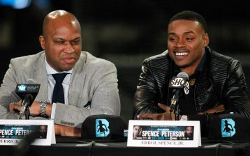 Derrick James (left) with Errol Spence Jr. Photo credit: Ed Diller/DiBella Entertainment.