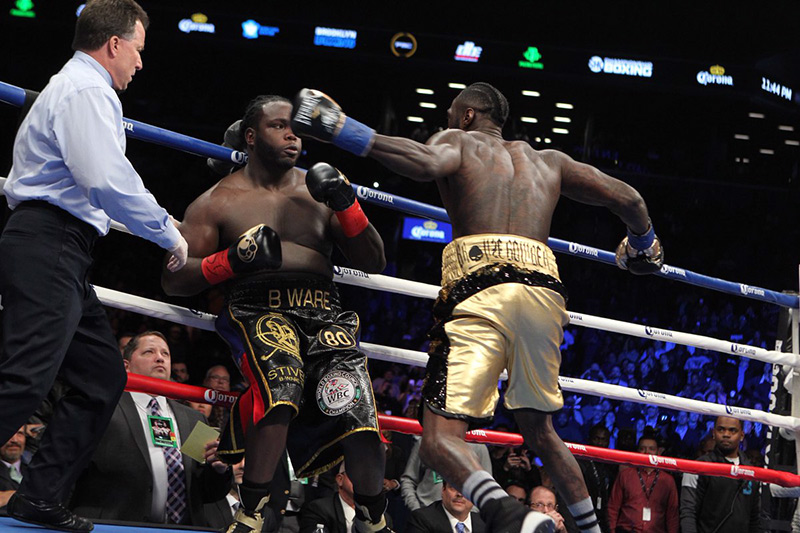 Deontay Wilder (right) finishes Bermane Stiverne. Photo credit: Showtime Boxing