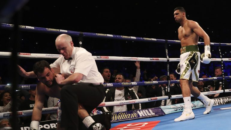 Amir Khan wipes out Phil Lo Greco in 40 seconds following two-year absence