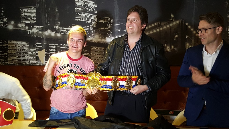 (From left to right) The Ring Magazine/IBF/WBA junior flyweight champion Hekkie Budler, RingTV.com's Droeks Malan and trainer/manager Colin Nathan