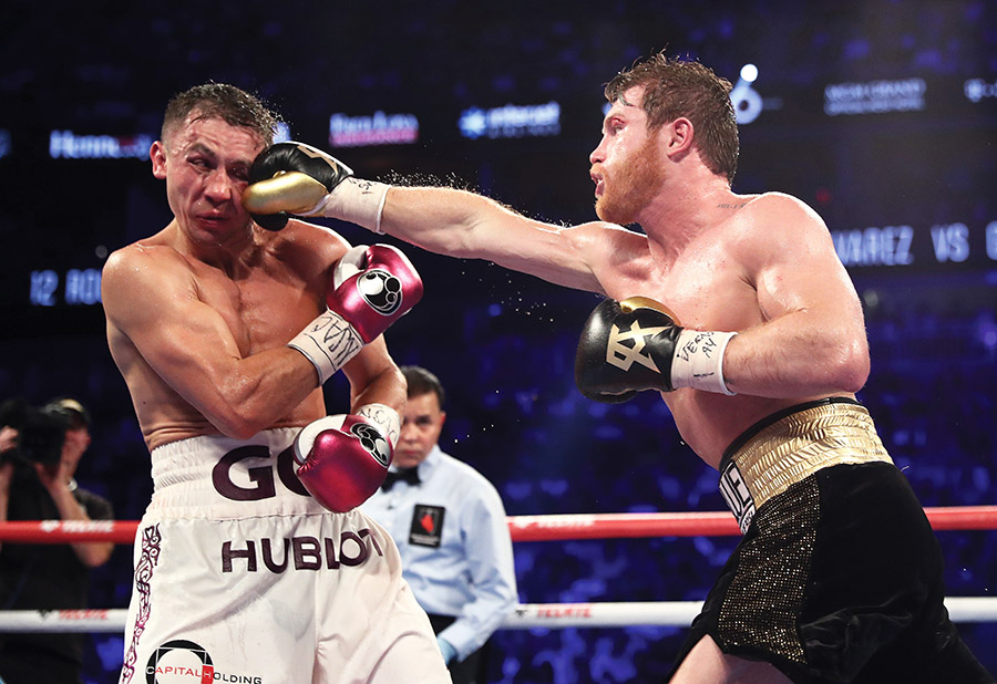 Canelo Alvarez (right) vs. Gennady Golovkin. Photo by Al Bello/Getty Images