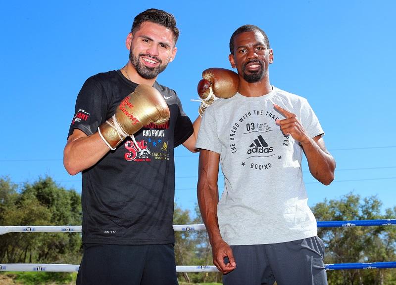 WBC junior welterweight titlist Jose Ramirez (left) and junior lightweight Jamel Herring. Photo credit: Mikey Williams/Top Rank