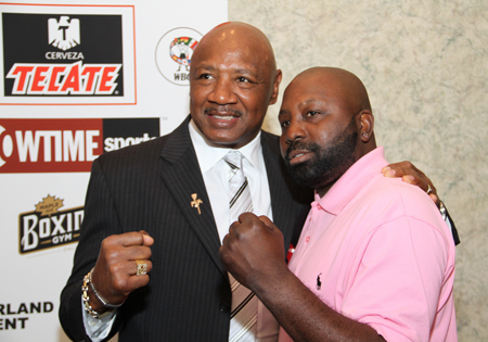 "Former two-division titlist Mark ""Too Sharp"" Johnson (right) and Marvelous Marvin Hagler, Photo courtesy of the International Boxing Hall of Fame"