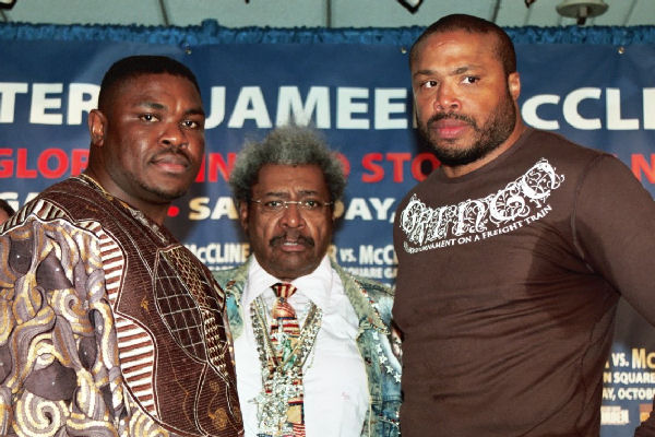 (From left to right) Samuel Peter, Don King and Jameel McCline. Photo credit: Jim Everett