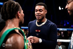 Shawn Porter and Errol Spence Jr. Photo credit Amanda Westcott Showtime 300x200 - Dougie's Friday mailbag (Spence-Garcia, Kosei Tanaka, PPV criticism)