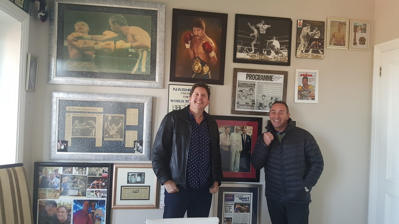 Former two-time junior lightweight titleholder Brian Mitchell (right) and Droeks Malan