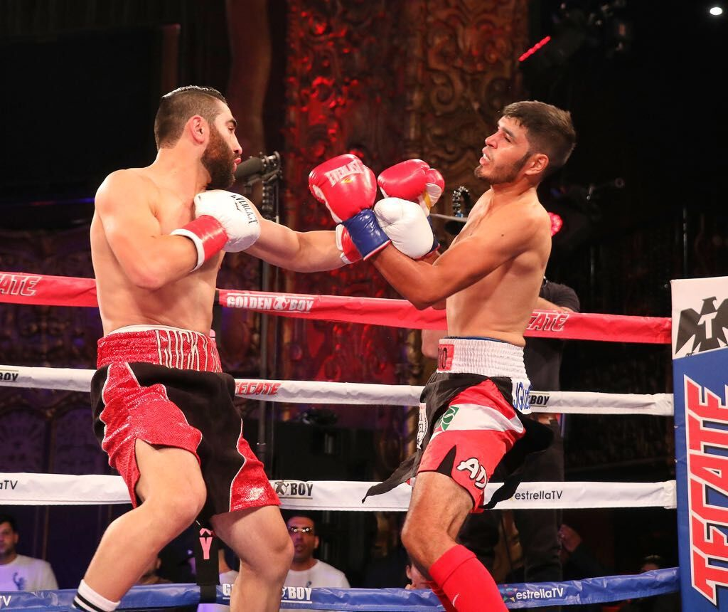Junior middleweight prospect Ferdinand Kerobyan (left) in action. Photo by Ray Navarrete-Supreme Boxing