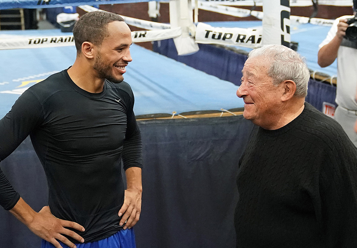 Middleweight contender Rob Brant (left) and Top Rank CEO Bob Arum. Photo credit: Naoki Fukuda