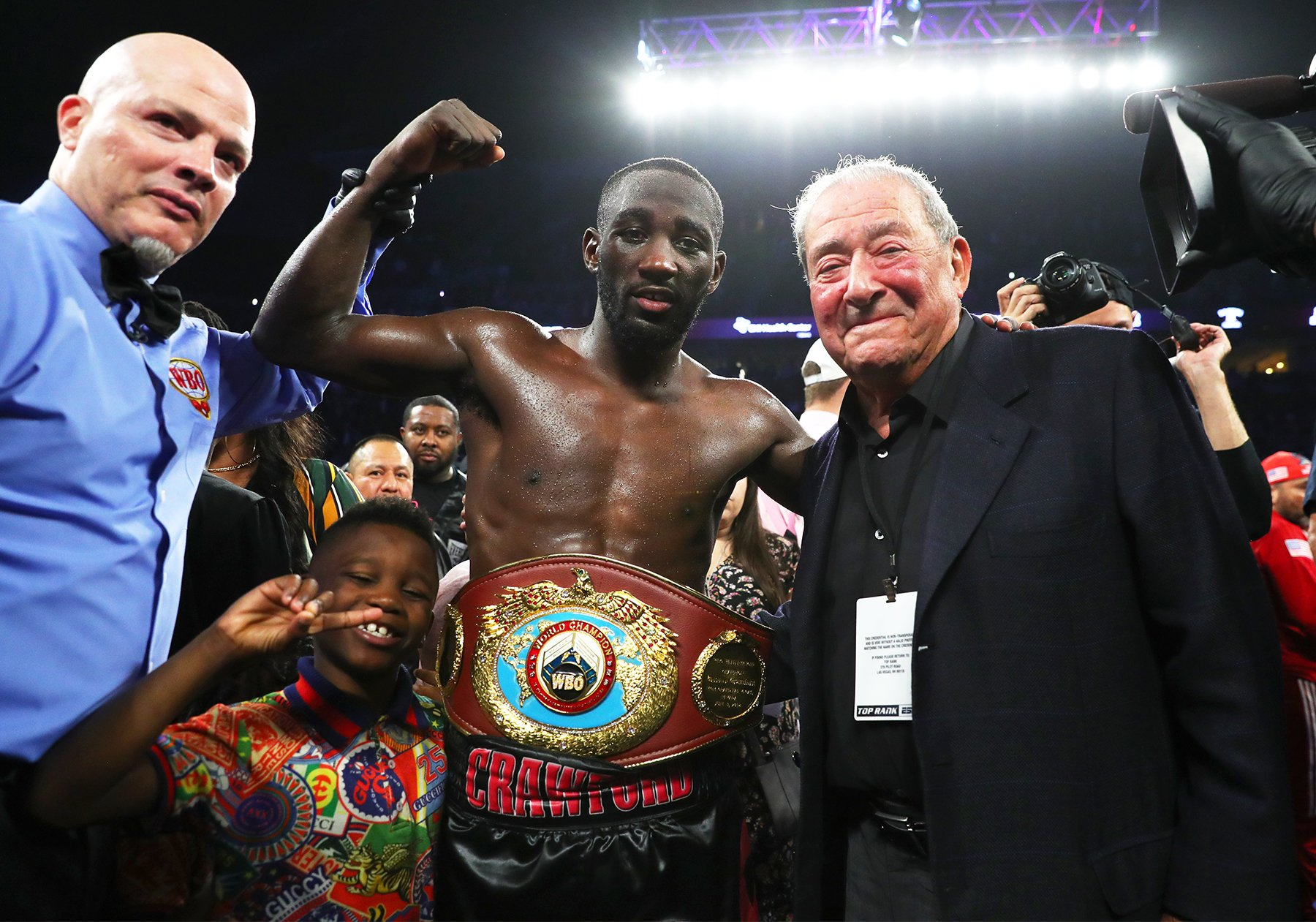 WBO welterweight titlist Terence Crawford (left) and Bob Arum of Top Rank