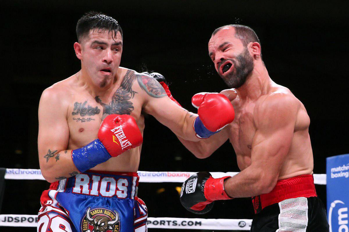 Brandon Rios (left) vs. Ramon Alvarez. Photo courtesy of DAZN