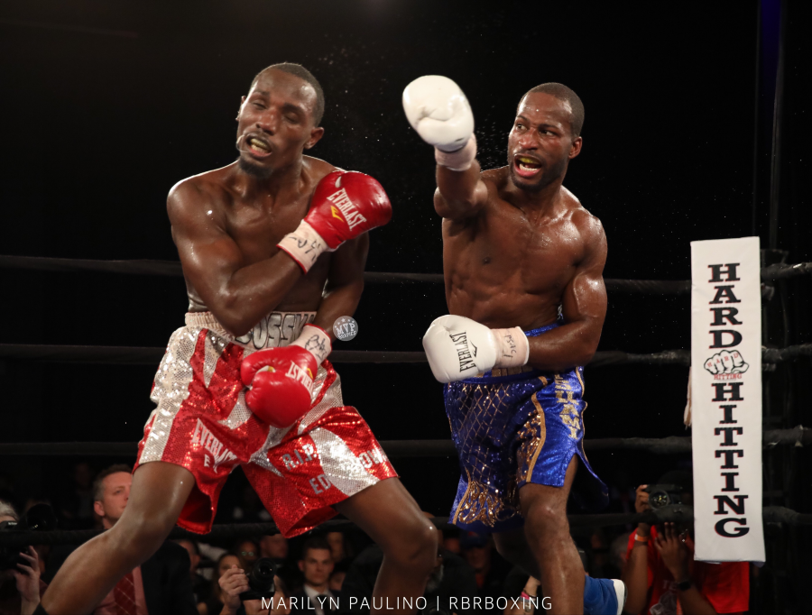 Junior welterweight Samuel Teah (right) vs. Kenneth Sims Jr. Photo credit: Marilyn Paulino/RBR Boxing