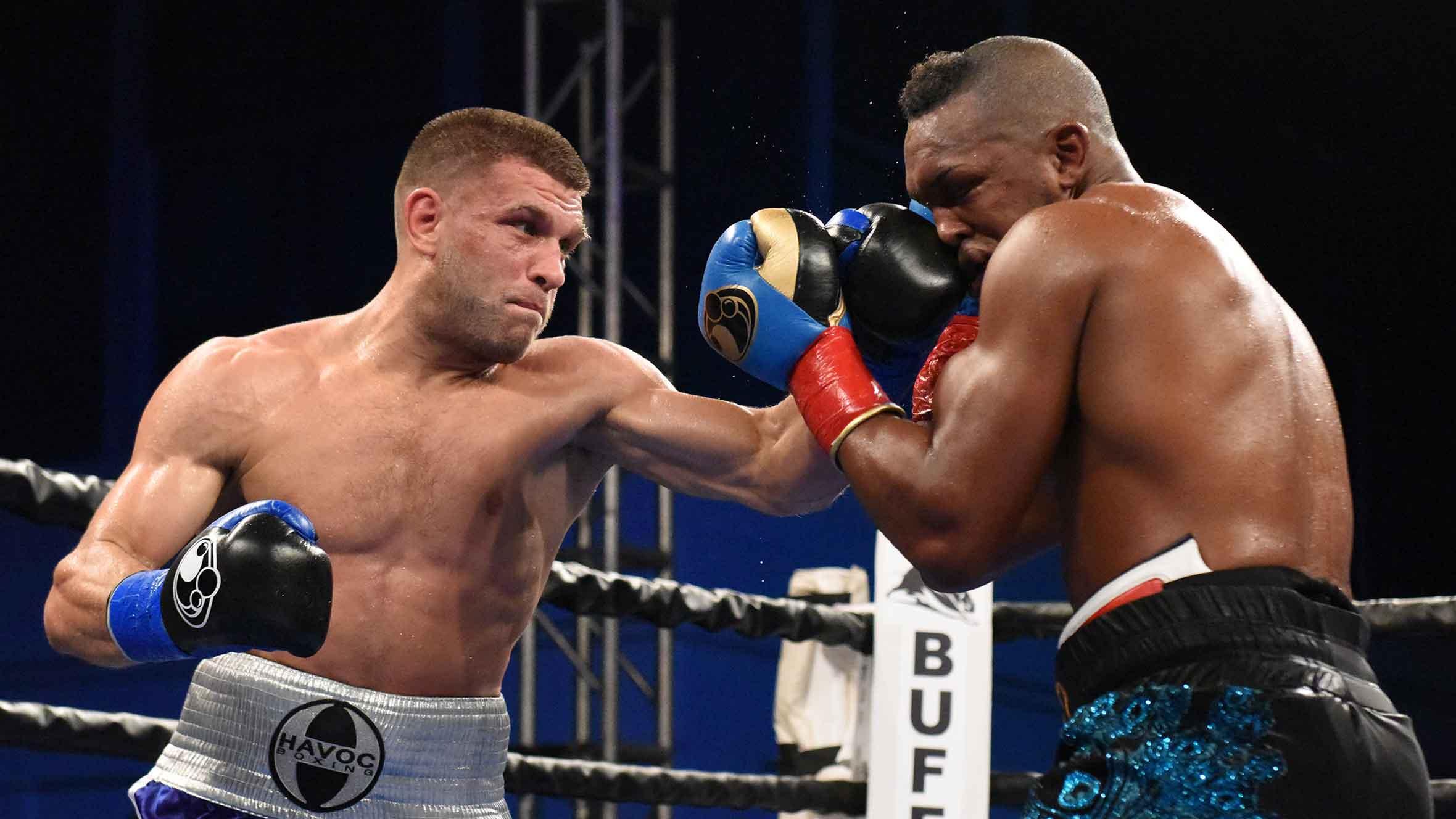 Sergiy Derevyanchenko (left) vs. Tureano Johnson. Photo courtesy of Premier Boxing Champions