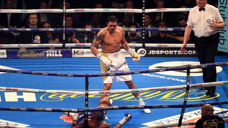 Aleksandr Usyk scores explosive eighth-round knockout over Tony Bellew
