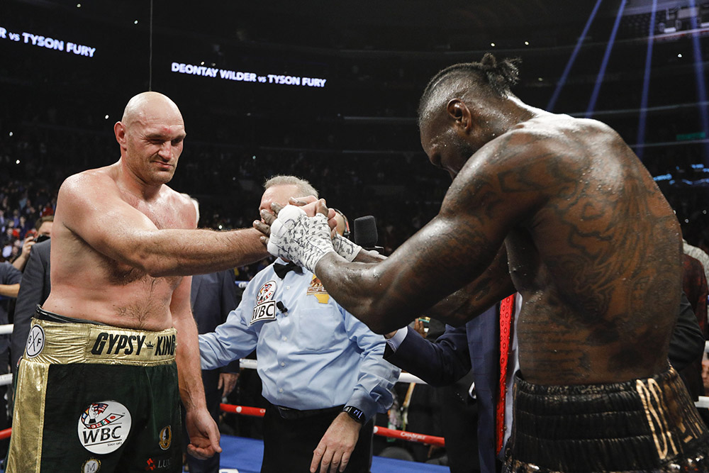 Deontay Wilder (right) and Tyson Fury. Photo by Esther Lin/Showtime