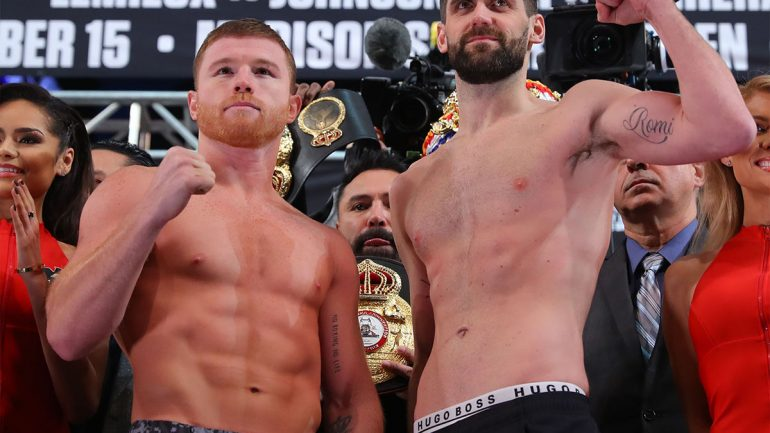Canelo Alvarez-Rocky Fielding weigh-in results and photos
