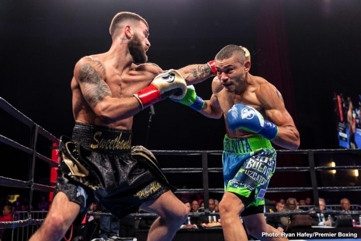 IBF super middleweight titlist Caleb Plant (left) vs. Jose Uzcategui. Photo credit: Ryan Hafey/Premier Boxing Champions