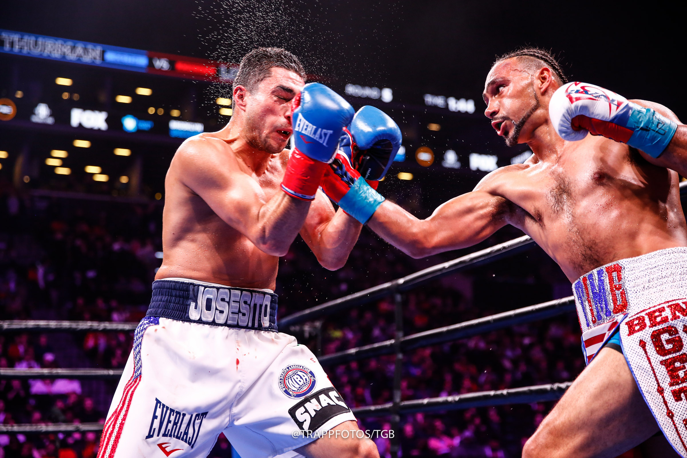 Josesito Lopez (left) gave Keith Thurman hell during the second half of their WBA welterweight title bout but the defending beltholder dished out his share of punishment. Photo by Stephanie Trapp/TGB Promotions