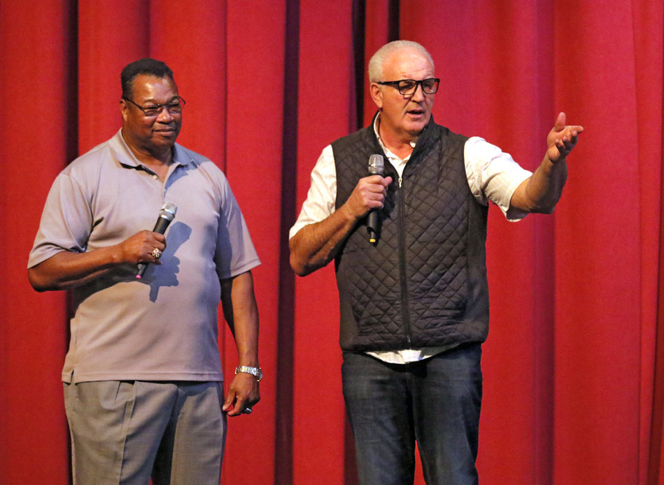 Larry Holmes (left) and Gerry Cooney. Photo credit: Steve Gooch/The Oklahoman