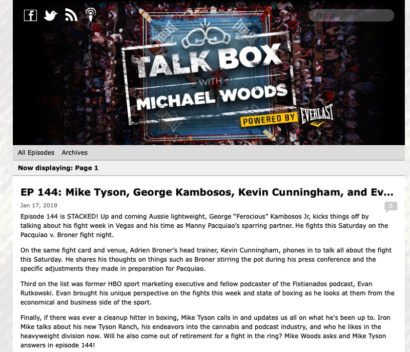 Talkbox EP 144 Mike Tyson - Mike Tyson says 'toad venom' has changed his life