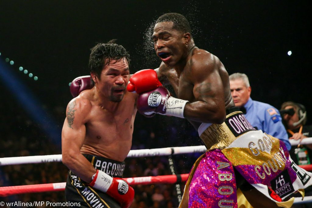 Manny Pacquiao (left) vs. Adrien Broner. Photo by Wendell Alinea/MP Promotions