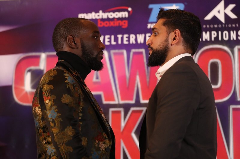 Terence Crawford (left) and Amir Khan meet in an ESPN PPV main event on April 20. Photo courtesy of Matchroom Boxing