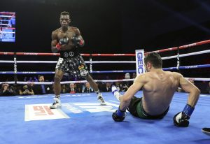 Commey downs Chaniev 300x206 - Richard Commey wrecks Isa Chaniev in two rounds to set up bout with Vasiliy Lomachenko