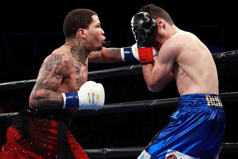 Gervonta Davis (left) on the attack vs. Hugo Ruiz. Photo by Dave Mandel-SHOWTIME