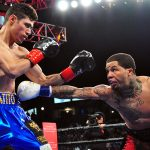 Gervonta Davis (right) stabs Hugo Ruiz to the body with a hard jab. Photo by German Villasenor
