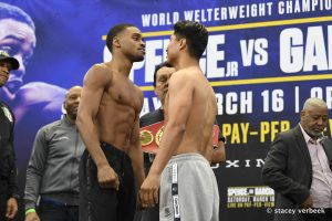 Spence Gracia weigh in staredown Stacey Verbeek 300x200 - Dougie's Friday mailbag (Spence-Garcia, Kosei Tanaka, PPV criticism)