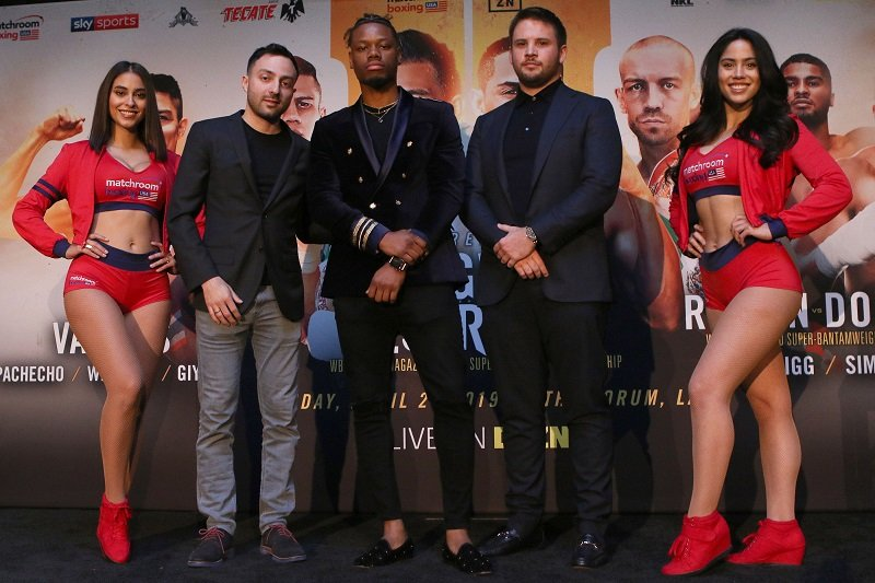 "March 4, 2019; Los Angeles, California: (From left to right) Sam Katkovski, Austin ""Ammo"" Williams and Frank Smith, CEO of Matchroom Boxing, pose at the press conference announcing the April 26, 2019 Matchroom Boxing USA fight card that will take place at the Forum in Los Angeles, California. Photo credit: Melina Pizano/Matchroom Boxing USA"