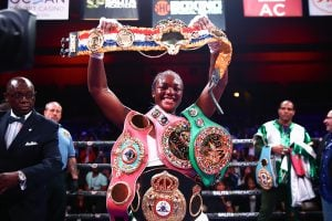 Claressa Shields undisputed champ ring belt Trappfotos 300x200 - The Boxing Esq. Podcast, Ep. 23: Steve Farhood