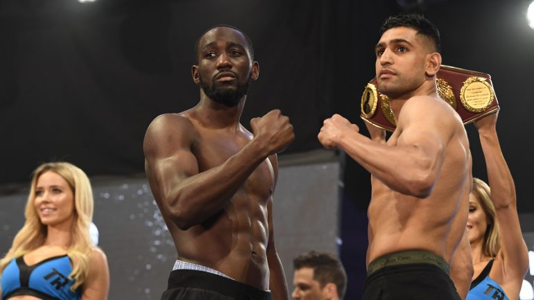 Photos: Terence Crawford, Amir Khan make weight in New York