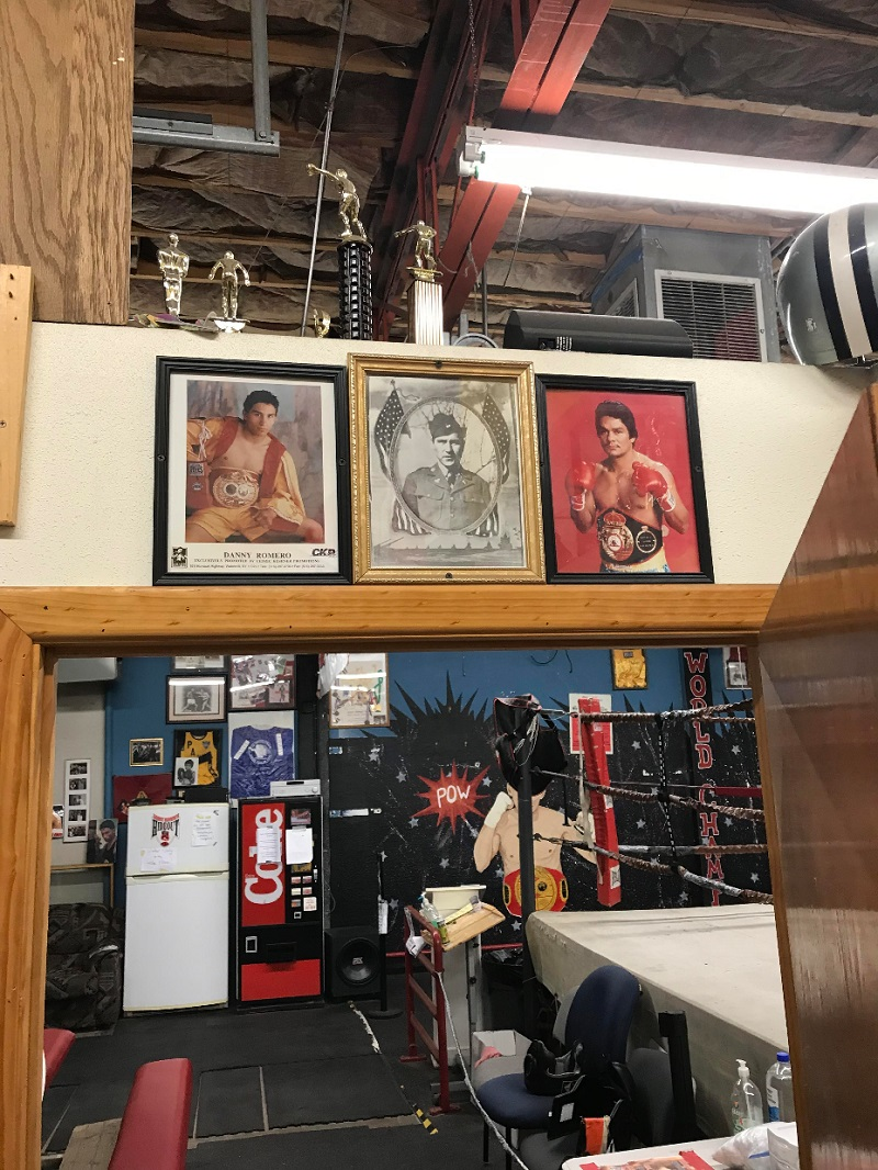 Inside Danny Romero's Hideout. The photo centered above the doorway is of Romero's grandfather Richard Romero, himself once a professional fighter. Photo courtesy of Danny Romero's Hideout