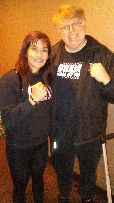 IBF junior featherweight beltholder Marcela Acuna (left) and Lee Groves. Photo credit: Brenda Carbajal