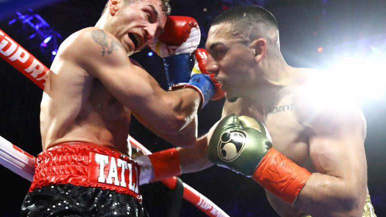 Teofimo Lopez halts Edis Tatli in five rounds on Crawford-Khan undercard
