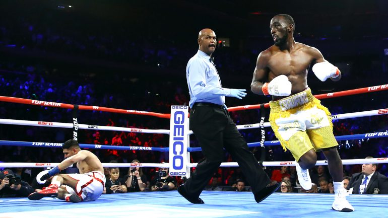 Terence Crawford punishes Amir Khan, but fight ends on disappointing low blow TKO