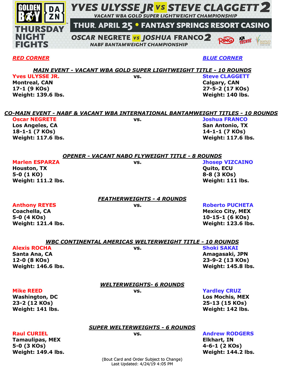 Ulysse Clagget2 Bout Sheet w Weights  - TNF bout sheet with weigh-in results: Ulysse-Claggett and Negrete-Franco rematches
