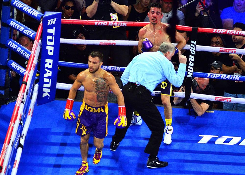 The Ring Magazine/WBA/WBO lightweight champion Vasiliy Lomachenko (foreground) vs. Anthony Crolla. Photo credit: German Villasenor