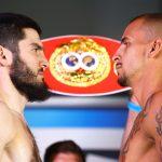 Artur Beterbiev vs Radivoje Kalajdzic faceoff 150x150 - Photos: Beterbiev-Kalajdzic, Ancajas-Funai make weight in Stockton