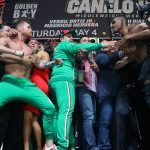 CaneloJacobsWeighIn Hoganphotos1 150x150 - Canelo Alvarez and Daniel Jacobs make weight for middleweight championship at heated weigh-in event