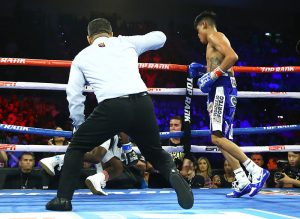 Emanuel Navarrete vs Isaac Dogboe knockdown Williams 300x219 - Miguel Berchelt and Emanuel Navarrete halt Francisco Vargas and Isaac Dogboe in title bout rematches