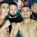 Enrique Tinoco right and Jordan Gill 150x150 - Enrique Tinoco shocks Jordan Gill, stops British featherweight in eight rounds