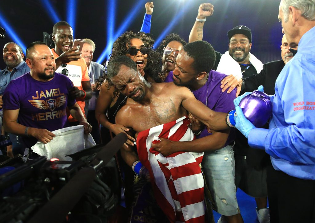 Jamel Herring victorious 2 1024x726 - Jamel Herring fulfills world title dream with boxing clinic over Masayuki Ito